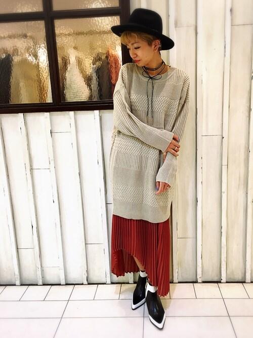osmosis名古屋 yukaさんの「イレギュラーヘムプリーツスカート(OSMOSIS)」を使ったコーディネート