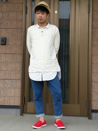 神保 茂信さんの「【Ciaopanic】ポケ付きロングシャツ(Ciaopanic|チャオパニック)」を使ったコーディネート