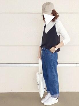 sanさんの「カリフォルニアTシャツ&サテンキャミセット 718199(LOWRYS FARM|ローリーズ ファーム)」を使ったコーディネート