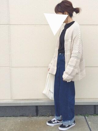 「Lowgauge knit cardigan(marjour)」 using this san looks