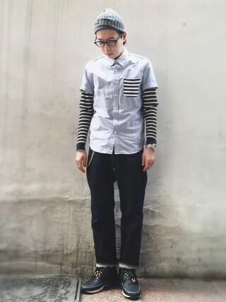 RECYDE.さんの「Stripe Shirts(SOPHNET. ソフネット)」を使ったコーディネート