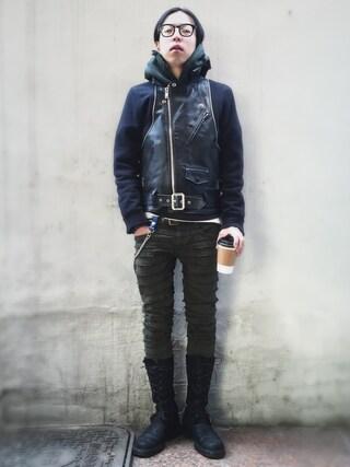 RECYDE.さんの「Undercoverism Leather Biker Jacket(UNDERCOVERISM アンダーカバーイズム)」を使ったコーディネート