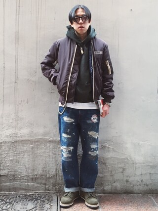 RECYDE.さんの「DIVISION MA-1 JACKET(MarchWith|マーチウィズ)」を使ったコーディネート