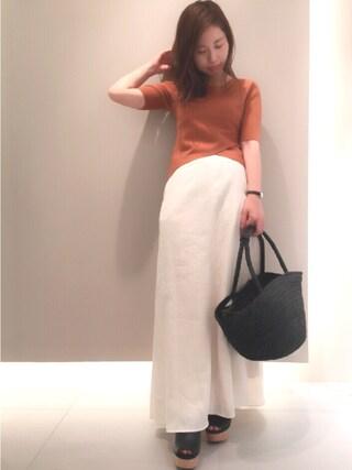 FRAY I.D nozomi mizuguchiさんの「リネンロングスカート(FRAY I.D フレイ アイディー)」を使ったコーディネート