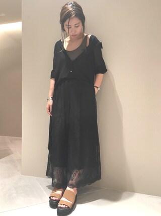 FRAY I.D nozomi mizuguchiさんの「レースワイドパンツ(FRAY I.D フレイ アイディー)」を使ったコーディネート