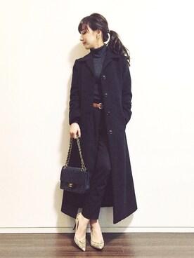 瀬戸晴加さんの「LADY MAXI COAT(CLANE|クラネ)」を使ったコーディネート