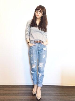 瀬戸晴加さんの「FOREVER 21 Distressed Boyfriend Jeans(Forever 21|フォーエバー トゥエンティーワン)」を使ったコーディネート