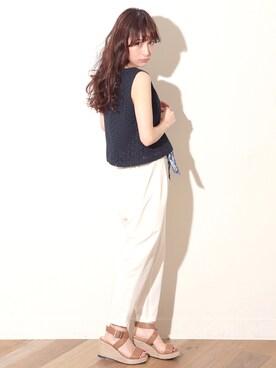 瀬戸晴加さんの「スカーフツキテーパードパンツ  717072(Heather|ヘザー)」を使ったコーディネート