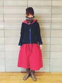MOEKO SHIBATAさんの「GRAMICCI(グラミチ)  JACQUARD NECK TUBE  (149)(BEAVER|ビーバー)」を使ったコーディネート