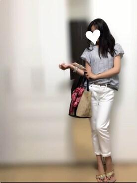 kさんの「【French Linen】袖フリルシャツ(ViS)」を使ったコーディネート