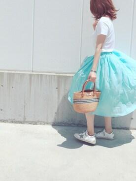 ♡asahi_66♡さんの「オーガニックコットンクルーネック半袖PO(AZUL by moussy)」を使ったコーディネート