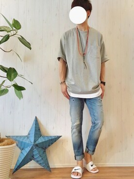 gakuさんの「ビーミング by ビームス / ポンチドロップショルダークルーTシャツ(B:MING by BEAMS|ビーミング バイ ビームス)」を使ったコーディネート