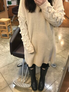 ♡まーさん◡̈*⑅♡さんの「NUSY パプコーン編みがかわいいおしゃれニットワンピース(haco!)」を使ったコーディネート