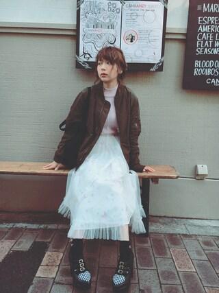 斎藤みらいさんの「encore!柄シアタースカート(merry jenny|メリージェニー)」を使ったコーディネート