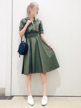 RANDA piole姫路店|yoshika.oさんの「ミリタリーソフトフィットシャツワンピース(RANDA|ランダ)」を使ったコーディネート
