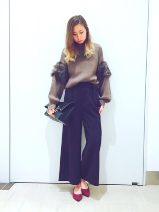 RANDA piole姫路店|yoshika.oさんの「ポイントファーバルーンスリーブニット(RANDA|ランダ)」を使ったコーディネート