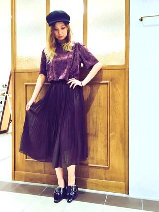 RANDA piole姫路店|yoshika.oさんの「エアリープリーツスカート(RANDA|ランダ)」を使ったコーディネート