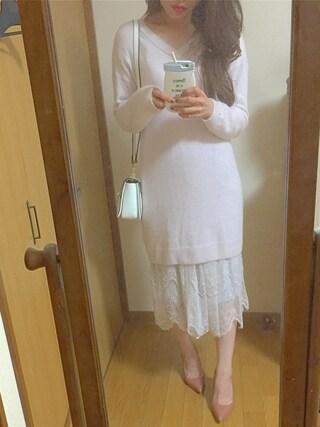 Yoshie Fujiuさんの「チュールレースミディスカート(MERCURYDUO|マーキュリーデュオ)」を使ったコーディネート