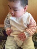 Yumeko Tanakaさんの「moco moco'スムーズィー'マルチカラーbabyロンパース(gelato pique|ジェラートピケ)」を使ったコーディネート