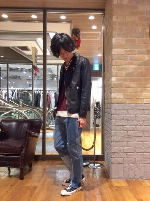 r.kobata1204さんの「ダブルライダースジャケット(Lui's)」を使ったコーディネート
