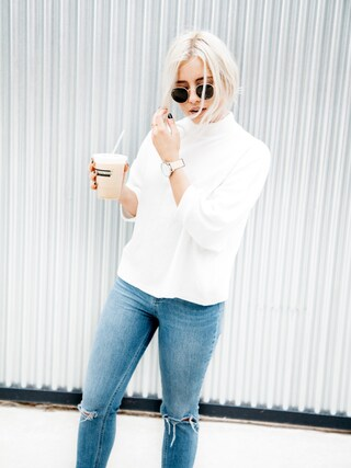 「ASOS Ridley High Waist Skinny Jeans in Darmera Mid Stonewash with Busted Knees(Asos)」 using this Styleinfurno looks