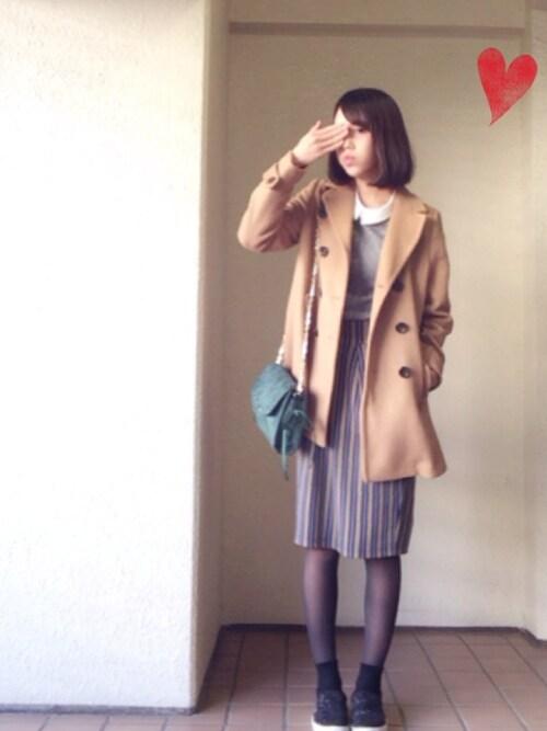 ベイガ-ルのSiori⚾︎さんの「【期間限定プライス】ストライプミディタイトスカート  554538(Heather)」を使ったコーディネート
