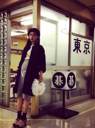 青柳 文子さんの「ウールアルパカ ニットスカート(THEATRE PRODUCTS|シアタープロダクツ)」を使ったコーディネート