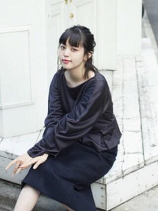 青柳 文子さんの「CIRCLE CUTSEW(ANREALAGE|アンリアレイジ)」を使ったコーディネート