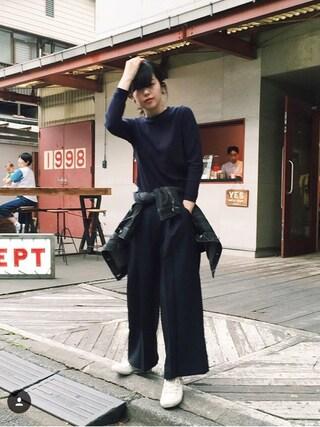 青柳 文子さんの「共リボン付ワイドパンツ(OLIVEdesOLIVE|オリーブデオリーブ)」を使ったコーディネート