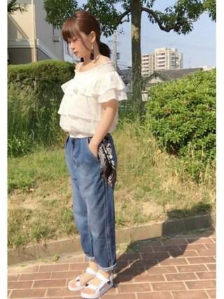 maimaiさんの「コットンドビーオフショルダーSS 720046(LOWRYS FARM|ローリーズ ファーム)」を使ったコーディネート
