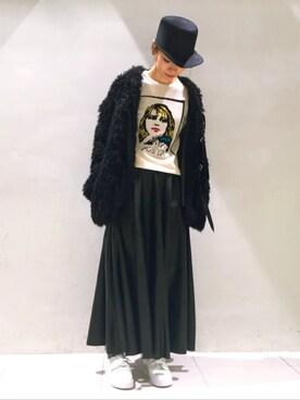 MIDWEST TOKYO WOMEN|arimskさんの「Bella Freud 『ANITA』プリントカシミア混メリノウールニット(BELLA FREUD)」を使ったコーディネート