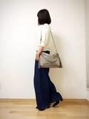 ayakoさんの「【GISELe6月号掲載】【大人気】【デニムパンツランキング1位獲得】ハイウエストコットン デニムワイドパンツ(MOCA|モカ)」を使ったコーディネート