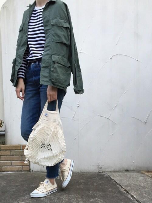 cota_raさんのミリタリージャケット「BY ROTHCO BDU シャツジャケットо(BEAUTY&YOUTH UNITED ARROWS ビューティアンドユースユナイテッドアローズ)」を使ったコーディネート