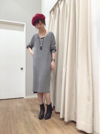INTERPLANET WINGS 浜松市野店|ゆきえさんの「ウール混ベレー帽(INTERPLANET WINGS|インタープラネットウィング)」を使ったコーディネート