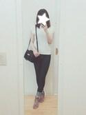 yuさんの「【PLAIN CLOTHING】フロントゴ-ルドメタルミニバッグ(PLAIN CLOTHING|プレーンクロージング)」を使ったコーディネート