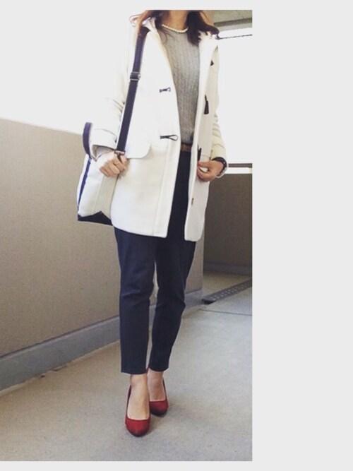 ようこさんの「WOMEN コットンカシミヤケーブルクルーネックセーター(長袖)(ユニクロ)」を使ったコーディネート