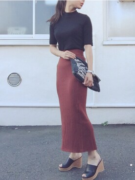 YUKIさんの「WOMEN メリノブレンドリブスカート(ユニクロ)」を使ったコーディネート