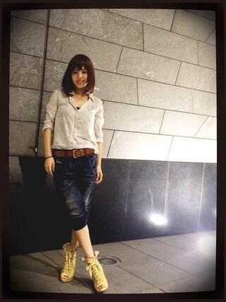 蒼井そら/SOLA AOI/苍井空さんの「花柄ペイズリーシャツ(goa|-)」を使ったコーディネート