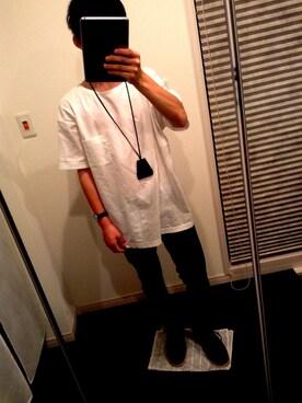 最近理解されへん梅原ファッションさんの「【栃木レザー使用】レザークロシェットネックレス/713012(RAGEBLUE)」を使ったコーディネート