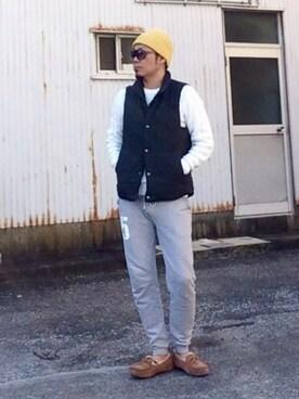 HIROさんの「MEN コットンカシミヤケーブルクルーネックセーター(長袖)(ユニクロ)」を使ったコーディネート