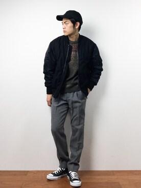 ZOZOTOWN|ryuto irieさんの「<monkey time> ∴ フランネル ナイロン コンビ MA-1(MONKEY TIME)」を使ったコーディネート