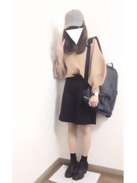 i-waさんの「<高橋愛さんコラボ>ラブ&ピースプロジェクト ミラノリブ編み袖ぷっくりVネックニット(haco!|ハコ)」を使ったコーディネート