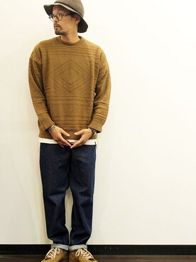 two things & think|nakajiさんの「NATIVE Crew(ISLAND KNIT WORKS)」を使ったコーディネート