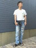 KEIさんの「TOGA VIRILIS スタッズTシャツ(TOGA(VIRILIS) ロギーケイ)」を使ったコーディネート