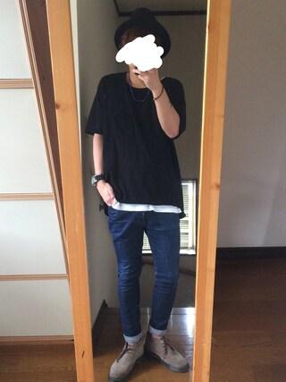 azukiさんの「AMERICAN RAG CIE ビックシルエットニットTシャツ【WEB限定】(AMERICAN RAG CIE|アメリカンラグ シー)」を使ったコーディネート