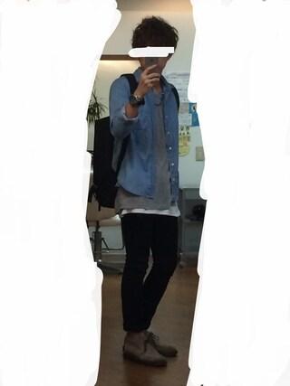 azukiさんの「MEN スリムフィットストレートジーンズ(大きいサイズ)(ユニクロ|ユニクロ)」を使ったコーディネート