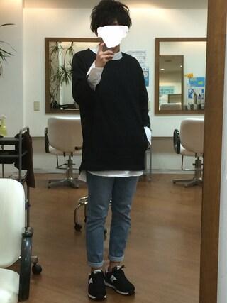 azukiさんの「<トレンドのロング丈>60/プルオーバーバンドカラーロングシャツ/569177(RAGEBLUE|レイジブルー)」を使ったコーディネート