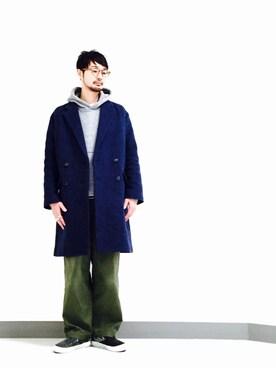 ビューティ&ユース ユナイテッドアローズ 松山店 Shirou Takemotoさんの「BY ダブルブレステッド チェスターコート(BEAUTY&YOUTH UNITED ARROWS)」を使ったコーディネート