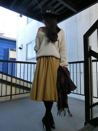 yoshimiさんの「【Casual】オリジナルピン付チェックストール(Ungrid|アングリッド)」を使ったコーディネート