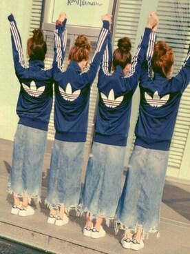 hi__chan¨̮♥︎さんの「オリジナルス トラックトップジャージ [NAVY TRACK TOP](adidas)」を使ったコーディネート